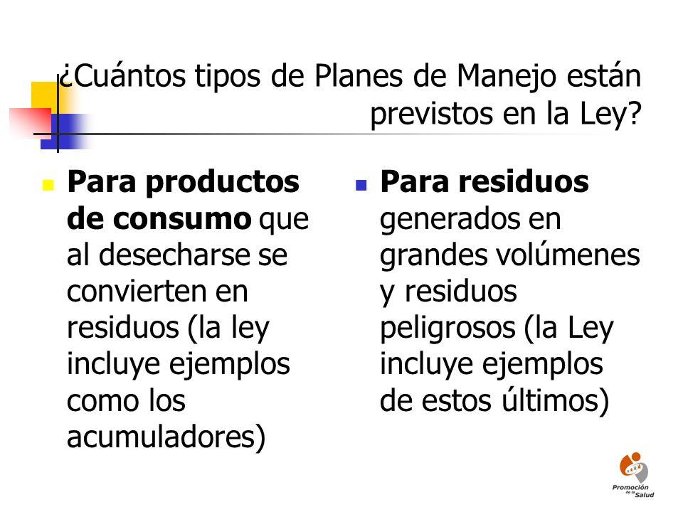 ¿Cuántos tipos de Planes de Manejo están previstos en la Ley? Para productos de consumo que al desecharse se convierten en residuos (la ley incluye ej