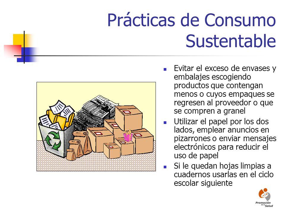 Prácticas de Consumo Sustentable Evitar el exceso de envases y embalajes escogiendo productos que contengan menos o cuyos empaques se regresen al prov