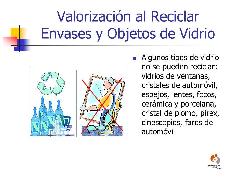 Valorización al Reciclar Envases y Objetos de Vidrio Algunos tipos de vidrio no se pueden reciclar: vidrios de ventanas, cristales de automóvil, espej