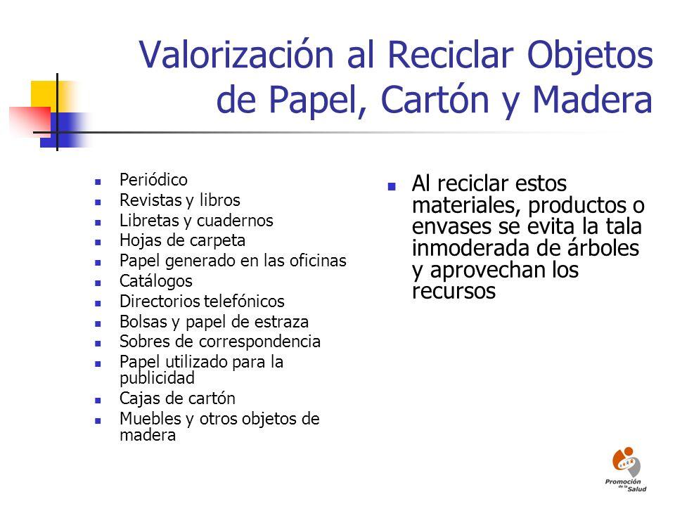 Valorización al Reciclar Objetos de Papel, Cartón y Madera Periódico Revistas y libros Libretas y cuadernos Hojas de carpeta Papel generado en las ofi