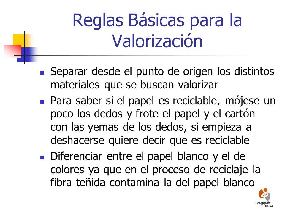 Reglas Básicas para la Valorización Separar desde el punto de origen los distintos materiales que se buscan valorizar Para saber si el papel es recicl