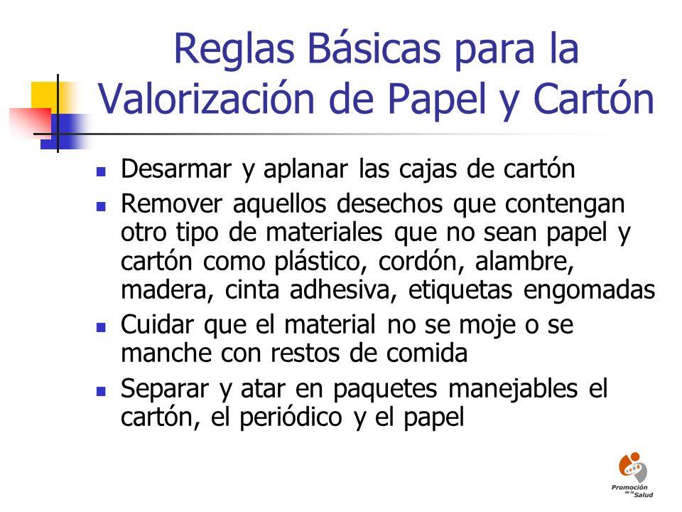 Reglas Básicas para la Valorización de Papel y Cartón Desarmar y aplanar las cajas de cartón Remover aquellos desechos que contengan otro tipo de mate