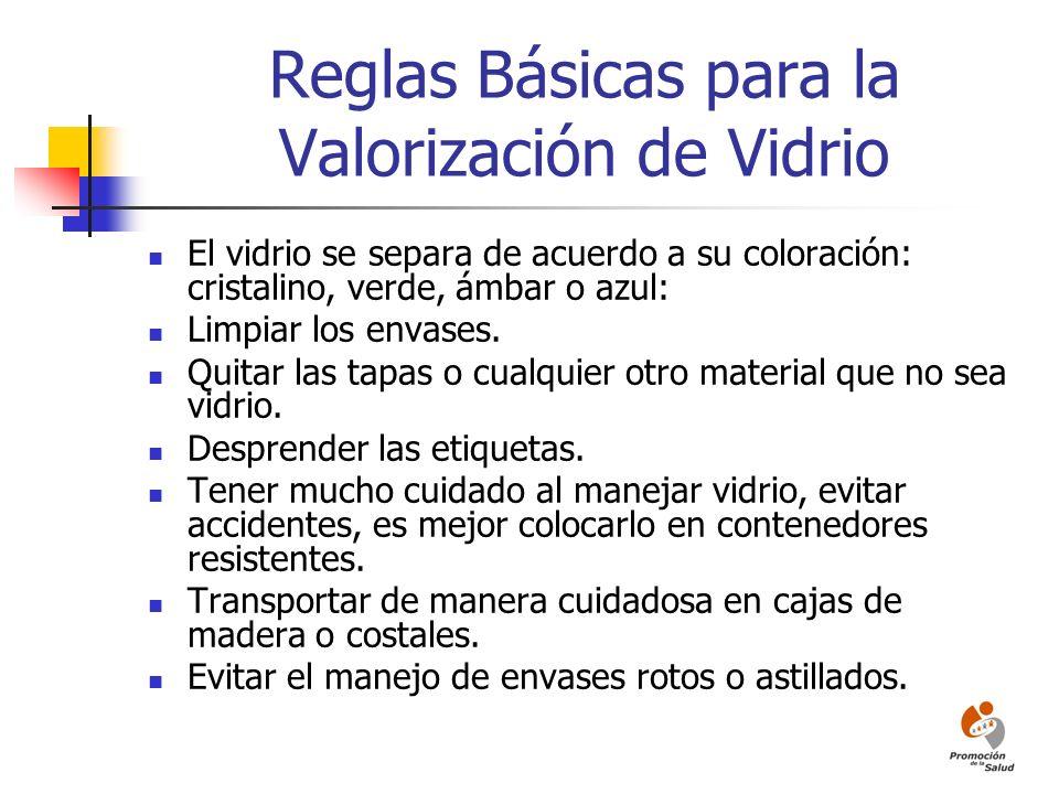 Reglas Básicas para la Valorización de Vidrio El vidrio se separa de acuerdo a su coloración: cristalino, verde, ámbar o azul: Limpiar los envases. Qu