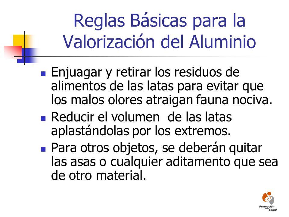 Reglas Básicas para la Valorización del Aluminio Enjuagar y retirar los residuos de alimentos de las latas para evitar que los malos olores atraigan f