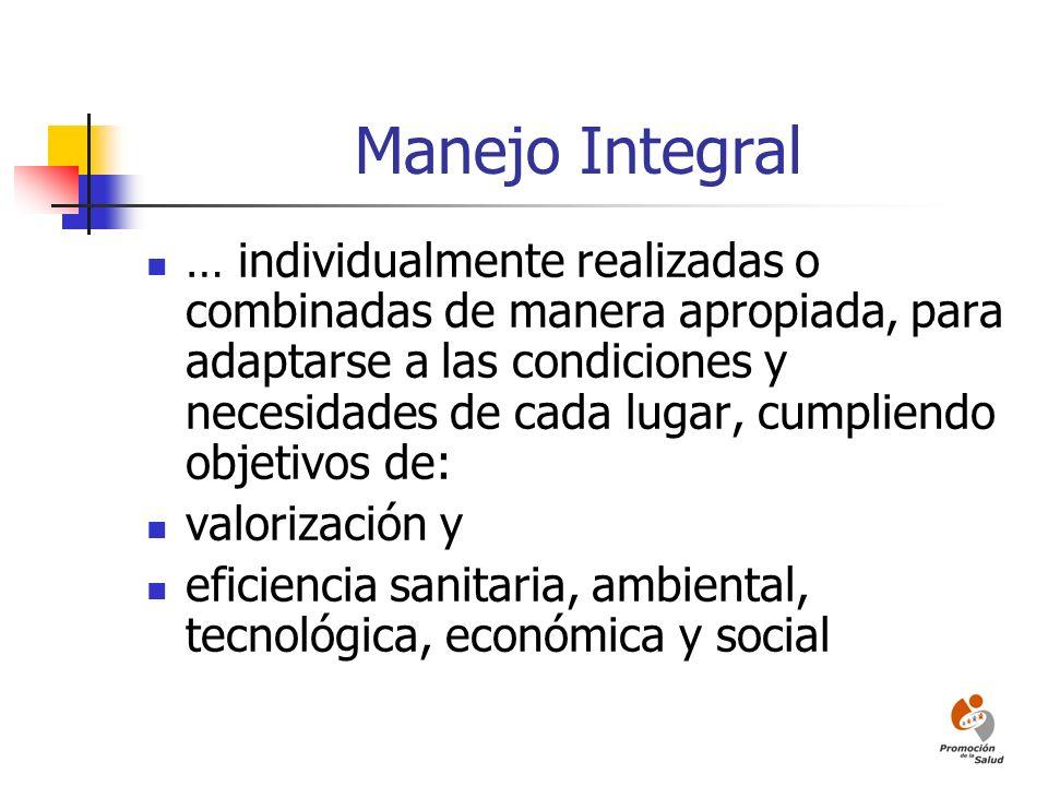 Manejo Integral … individualmente realizadas o combinadas de manera apropiada, para adaptarse a las condiciones y necesidades de cada lugar, cumpliend