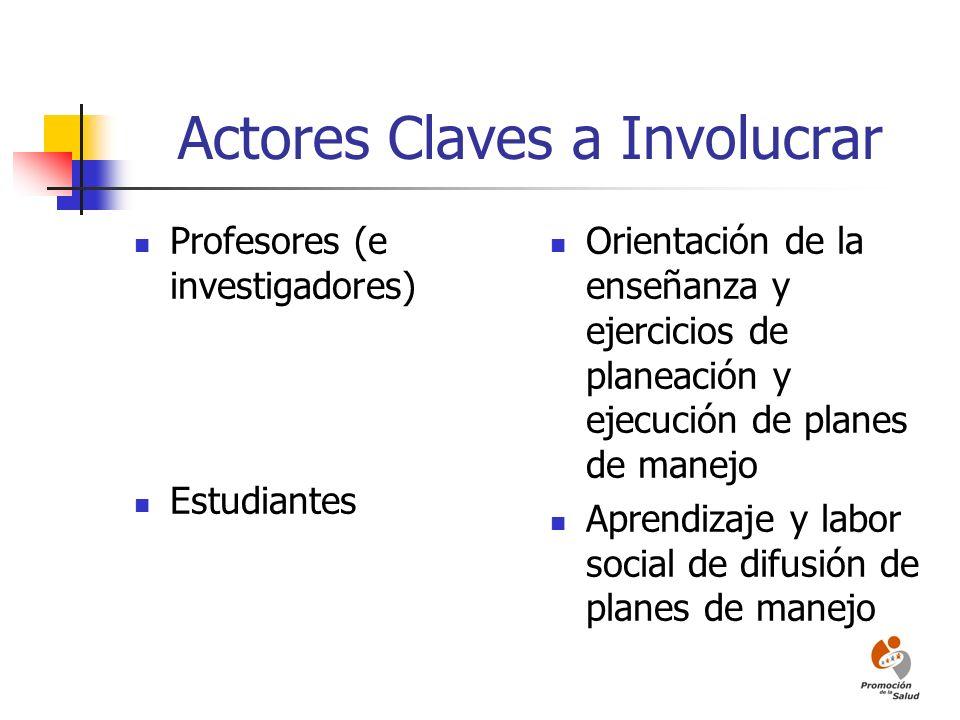 Actores Claves a Involucrar Profesores (e investigadores) Estudiantes Orientación de la enseñanza y ejercicios de planeación y ejecución de planes de