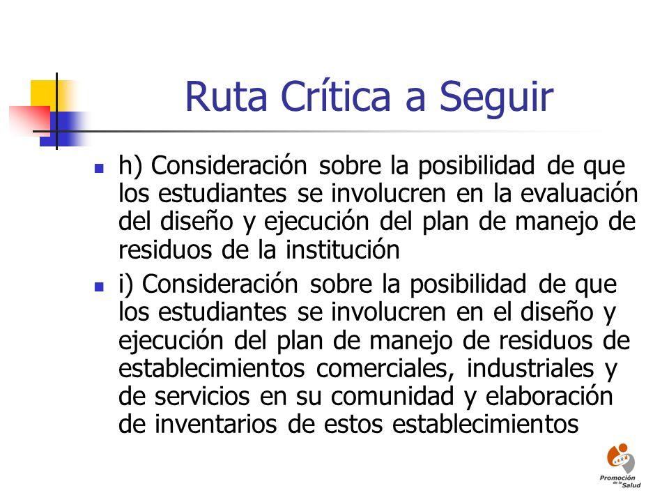 Ruta Crítica a Seguir h) Consideración sobre la posibilidad de que los estudiantes se involucren en la evaluación del diseño y ejecución del plan de m