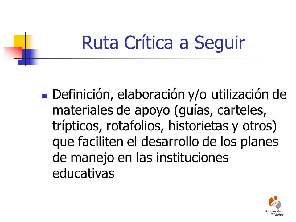 Ruta Crítica a Seguir Definición, elaboración y/o utilización de materiales de apoyo (guías, carteles, trípticos, rotafolios, historietas y otros) que