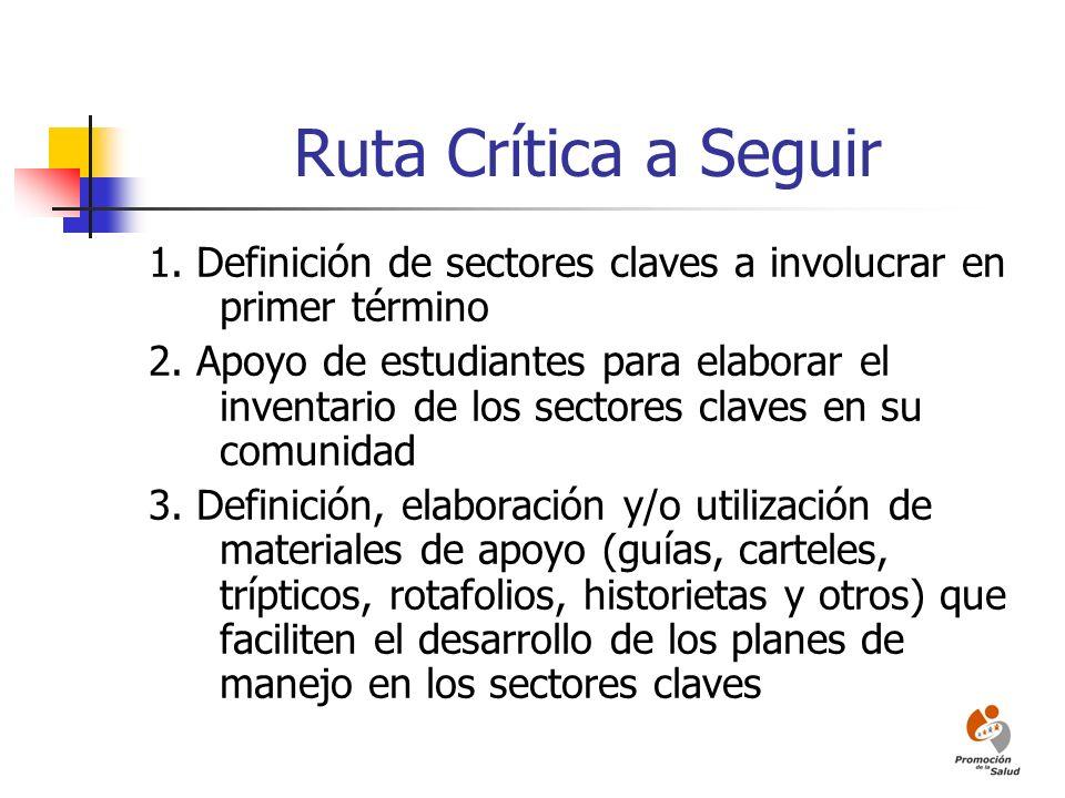 Ruta Crítica a Seguir 1. Definición de sectores claves a involucrar en primer término 2. Apoyo de estudiantes para elaborar el inventario de los secto