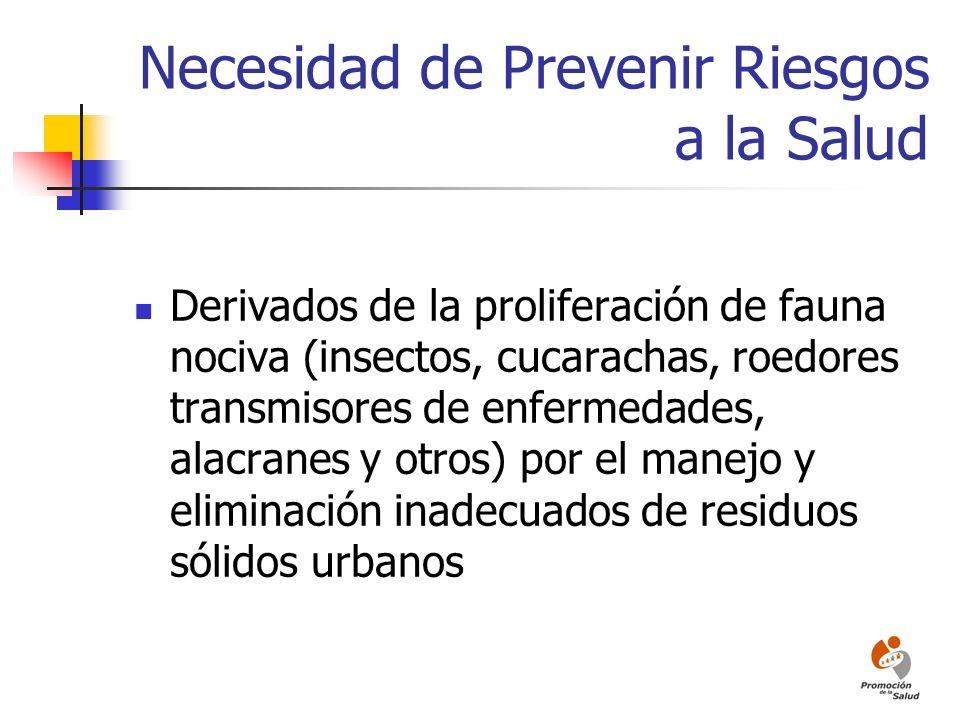 Necesidad de Prevenir Riesgos a la Salud Derivados de la proliferación de fauna nociva (insectos, cucarachas, roedores transmisores de enfermedades, a