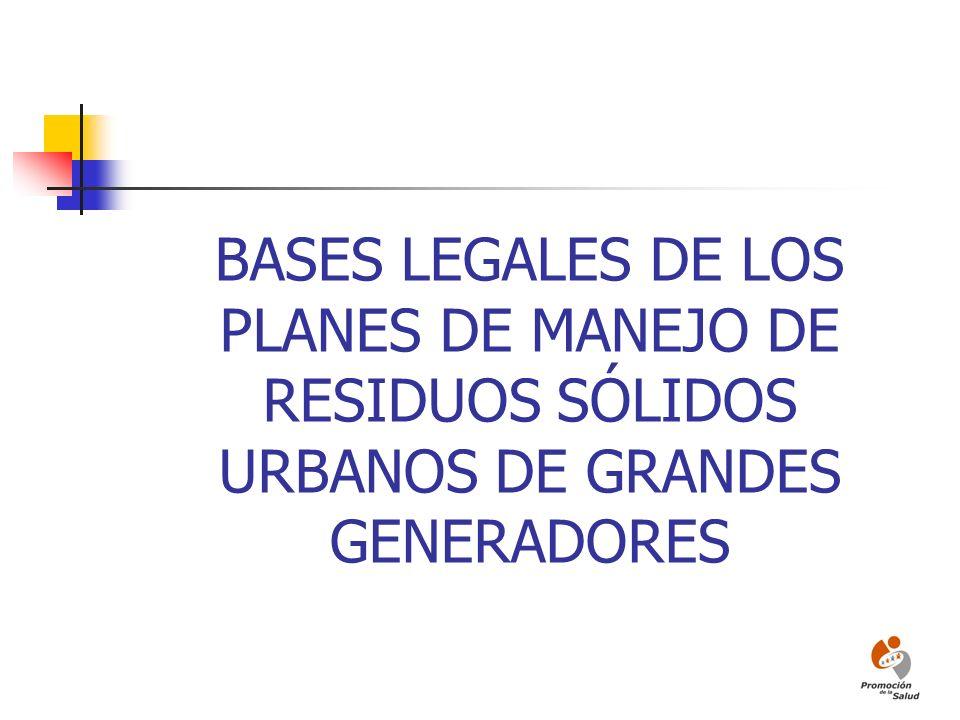BASES DE LA LEGISLACIÓN DE LA GESTIÓN INTEGRAL DE LOS RESIDUOS Recuperación de RECURSOS (Materiales valorizables a aprovechar de manera ambientalmente adecuada) Manejo Integral de RESIDUOS (Ambientalmente adecuado)