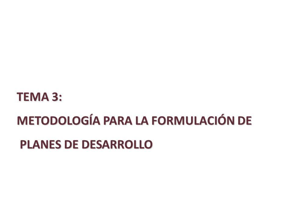 TEMA 3: METODOLOGÍA PARA LA FORMULACIÓN DE PLANES DE DESARROLLO PLANES DE DESARROLLO