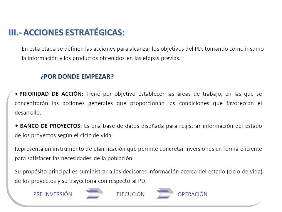 En esta etapa se definen las acciones para alcanzar los objetivos del PD, tomando como insumo la información y los productos obtenidos en las etapas p