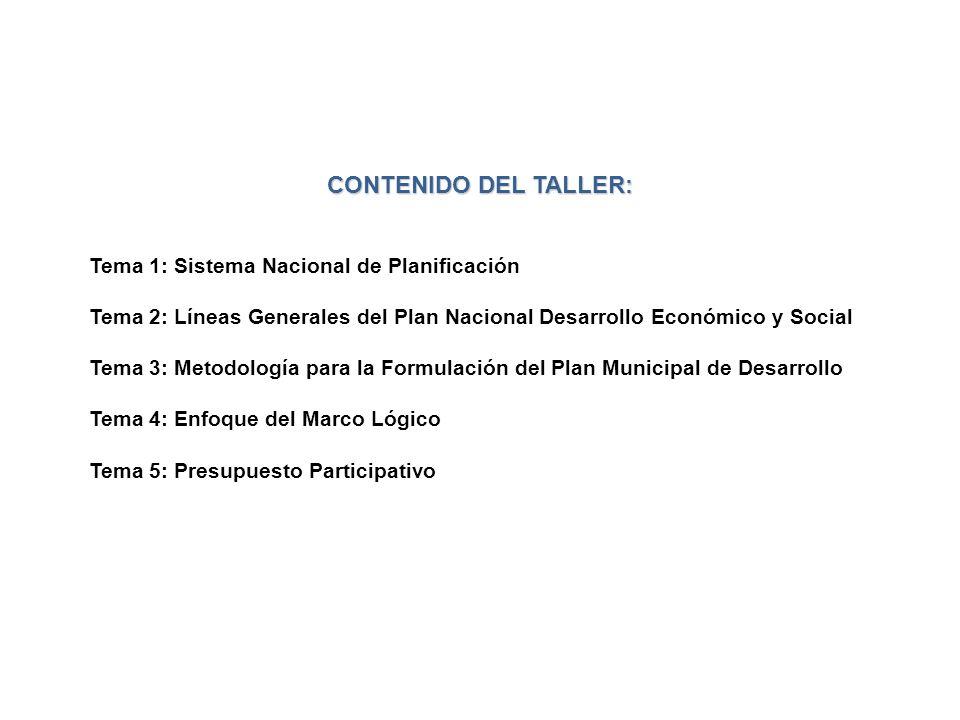 CONTENIDO DEL TALLER: Tema 1: Sistema Nacional de Planificación Tema 2: Líneas Generales del Plan Nacional Desarrollo Económico y Social Tema 3: Metod