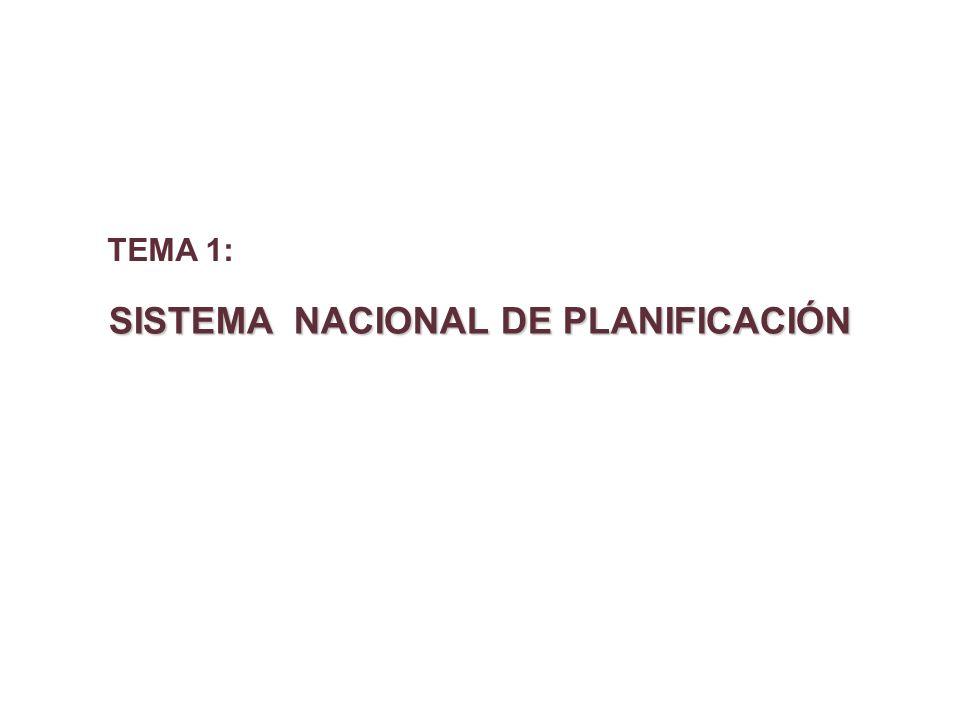 SISTEMA NACIONAL DE PLANIFICACIÓN TEMA 1: