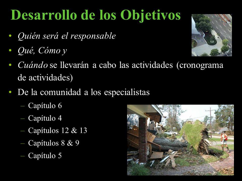 Desarrollo de los Objetivos Quién será el responsable Qué, Cómo y Cuándo se llevarán a cabo las actividades (cronograma de actividades) De la comunida