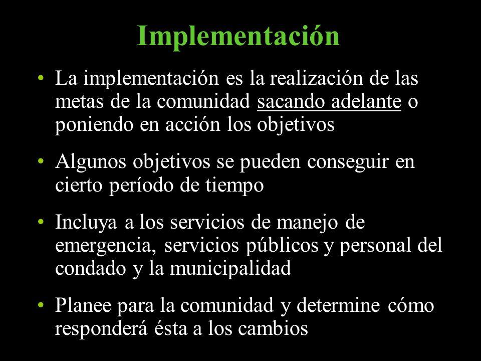 Implementación La implementación es la realización de las metas de la comunidad sacando adelante o poniendo en acción los objetivos Algunos objetivos