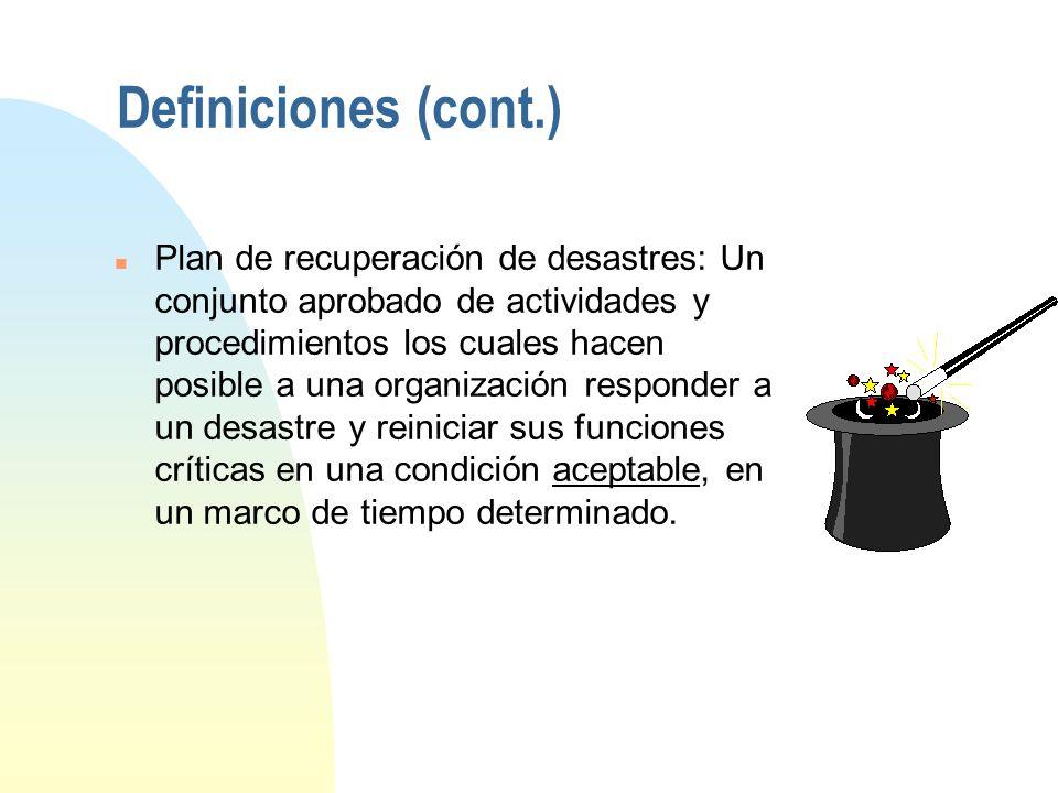 Definiciones n Desastre: Es cualquier evento que crea inhabilidad para una parte de una organización para proveer sus funciones críticas del negocio p