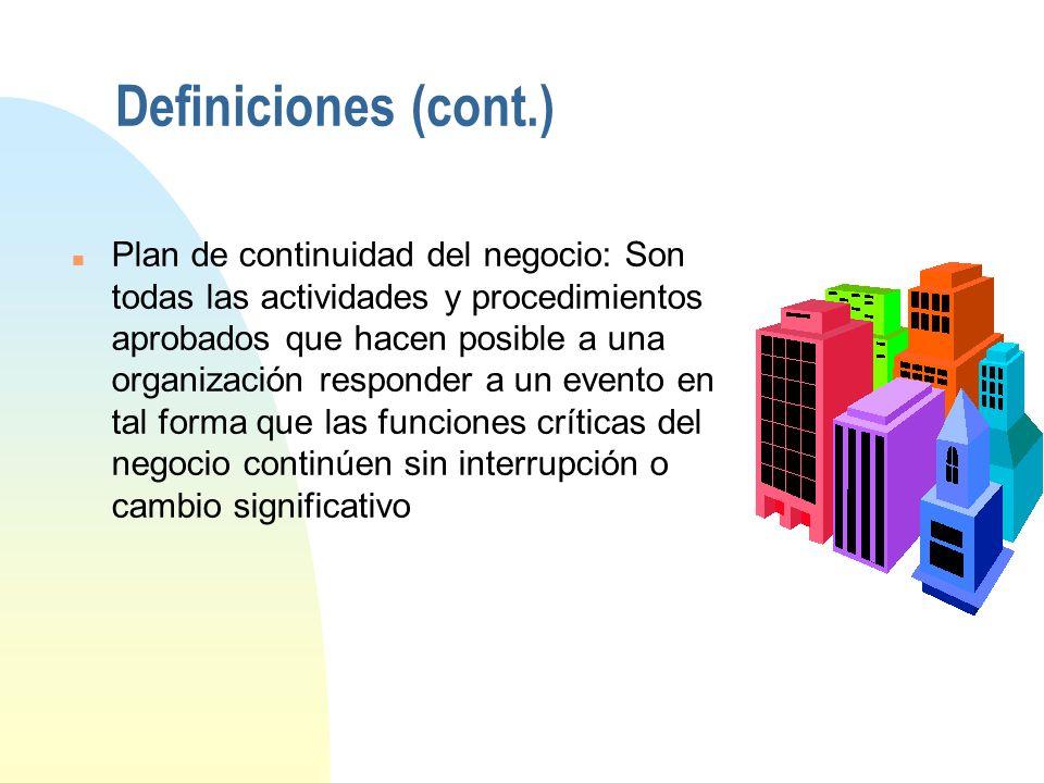 Definiciones (cont.) n Plan de recuperación de desastres: Un conjunto aprobado de actividades y procedimientos los cuales hacen posible a una organiza