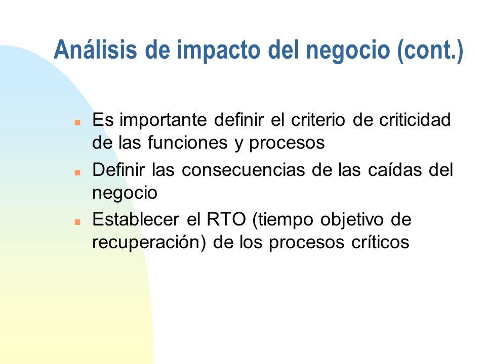 Análisis de impacto del negocio Basados en los riesgos ya identificados: n Determinar los procesos, funciones, departamentos y áreas de trabajo del ne