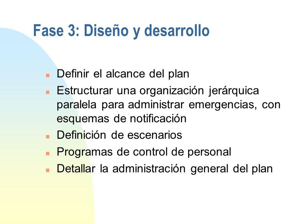Identificación de estrategias (cont.) n Seleccionar el almacenamiento fuera del sitio n Seleccionar el sitio alterno n Realizar un análisis costo bene