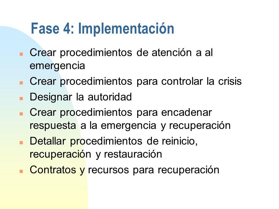 Fase 3: Diseño y desarrollo n Definir el alcance del plan n Estructurar una organización jerárquica paralela para administrar emergencias, con esquema