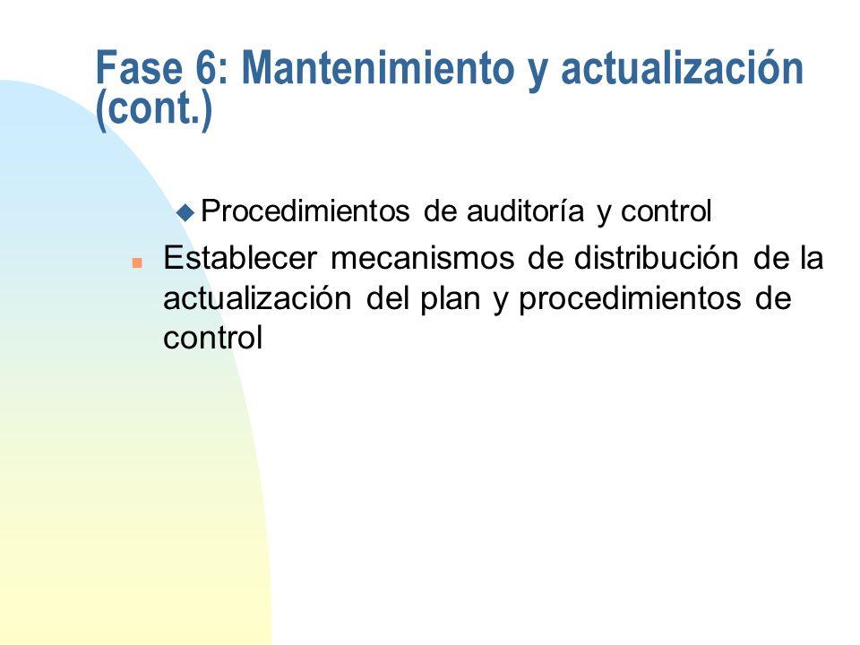 Fase 6: Mantenimiento y actualización n Programar y calcular la inversión en actividades de actualización y mantenimiento n Evaluar herramientas de so