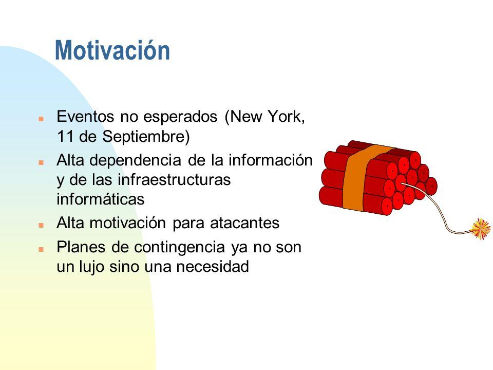 Motivación n Eventos no esperados (New York, 11 de Septiembre) n Alta dependencia de la información y de las infraestructuras informáticas n Alta motivación para atacantes n Planes de contingencia ya no son un lujo sino una necesidad