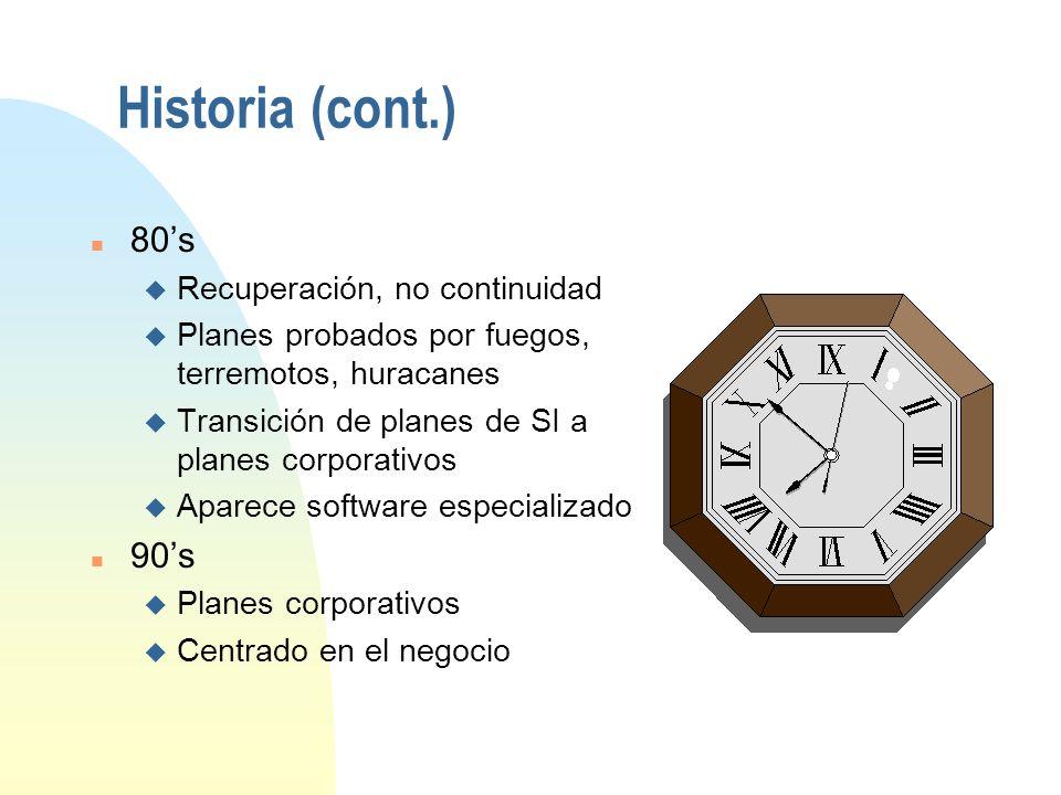 Historia n 60s u Primeros planes de recuperación u Solo Sistemas de Información u Solo en EU n 70s u Recuperación de Desastres u Alguna actividad fuer
