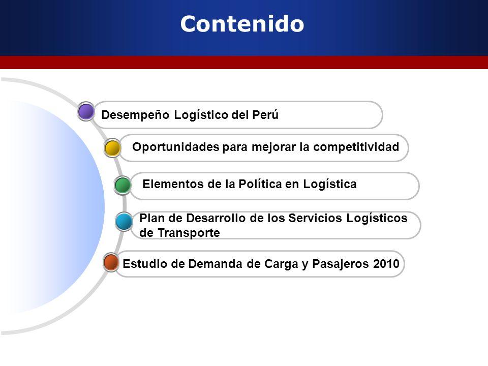 Contenido Estudio de Demanda de Carga y Pasajeros 2010 Oportunidades para mejorar la competitividad Plan de Desarrollo de los Servicios Logísticos de