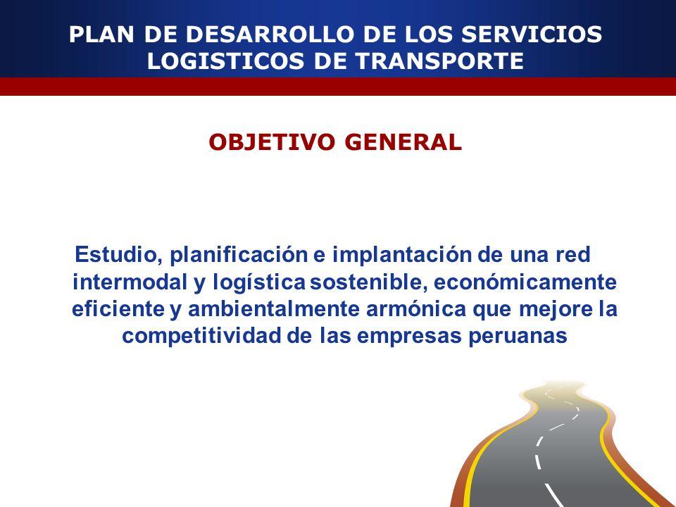 PLAN DE DESARROLLO DE LOS SERVICIOS LOGISTICOS DE TRANSPORTE OBJETIVO GENERAL Estudio, planificación e implantación de una red intermodal y logística