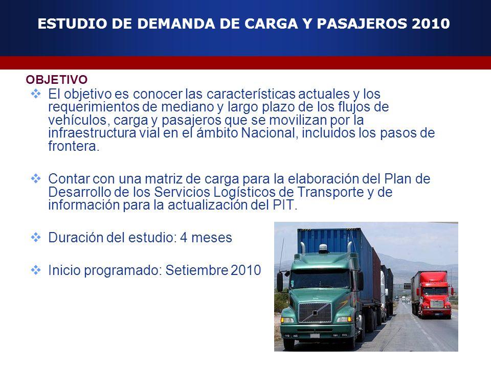 El objetivo es conocer las características actuales y los requerimientos de mediano y largo plazo de los flujos de vehículos, carga y pasajeros que se