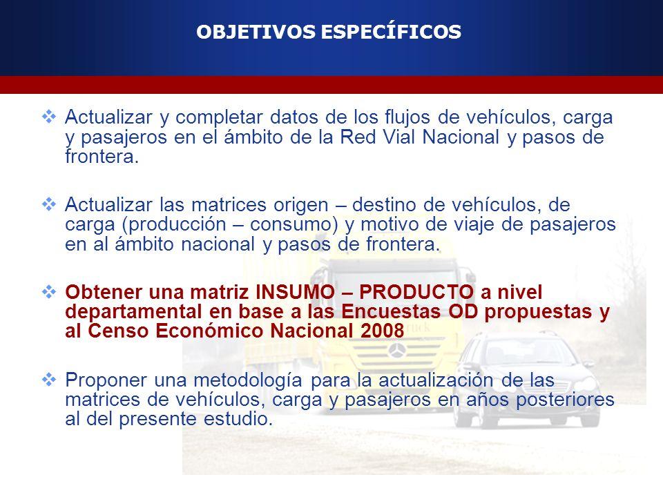 OBJETIVOS ESPECÍFICOS Actualizar y completar datos de los flujos de vehículos, carga y pasajeros en el ámbito de la Red Vial Nacional y pasos de front
