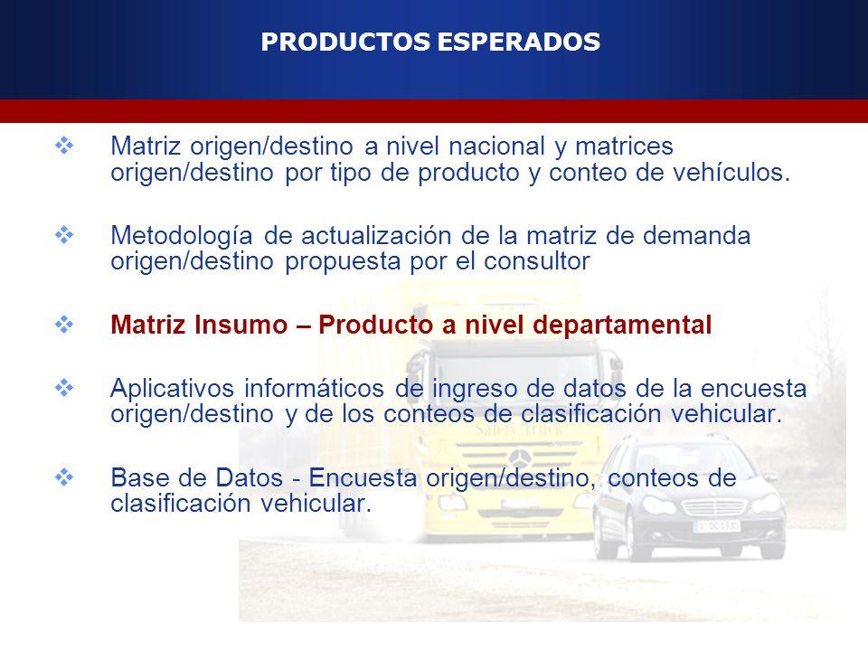 PRODUCTOS ESPERADOS Matriz origen/destino a nivel nacional y matrices origen/destino por tipo de producto y conteo de vehículos. Metodología de actual