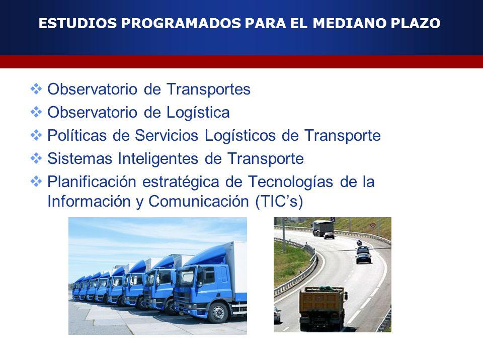 ESTUDIOS PROGRAMADOS PARA EL MEDIANO PLAZO Observatorio de Transportes Observatorio de Logística Políticas de Servicios Logísticos de Transporte Siste