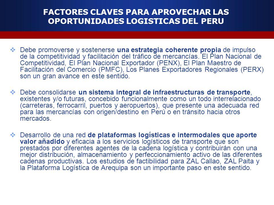 FACTORES CLAVES PARA APROVECHAR LAS OPORTUNIDADES LOGISTICAS DEL PERU Debe promoverse y sostenerse una estrategia coherente propia de impulso de la co