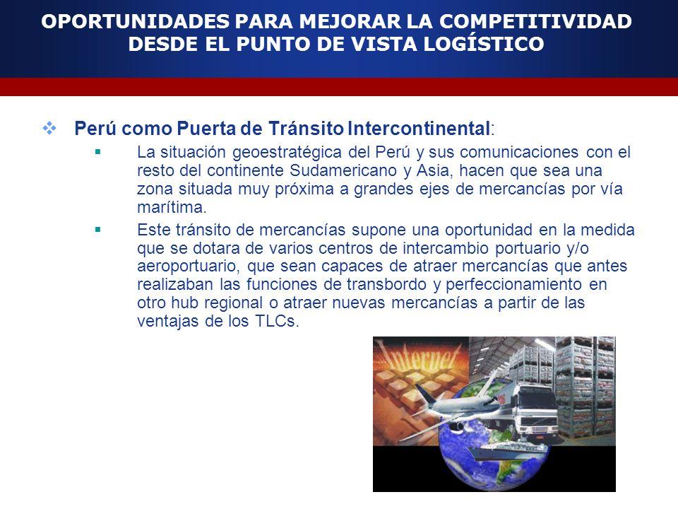 OPORTUNIDADES PARA MEJORAR LA COMPETITIVIDAD DESDE EL PUNTO DE VISTA LOGÍSTICO Perú como Puerta de Tránsito Intercontinental: La situación geoestratég