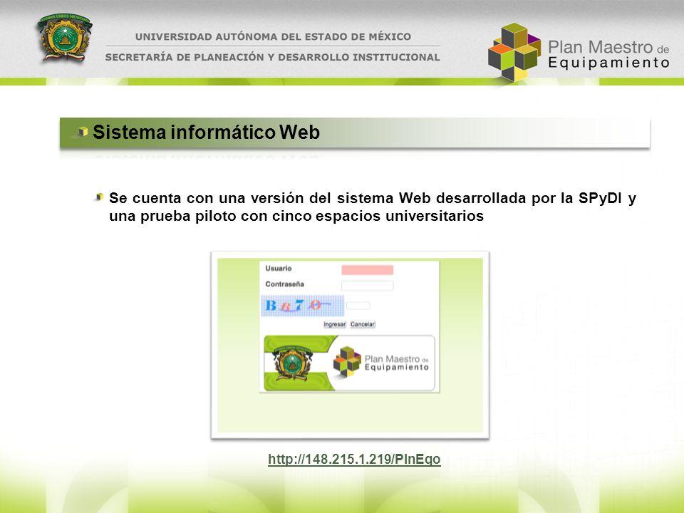 Se cuenta con una versión del sistema Web desarrollada por la SPyDI y una prueba piloto con cinco espacios universitarios http://148.215.1.219/PlnEqo