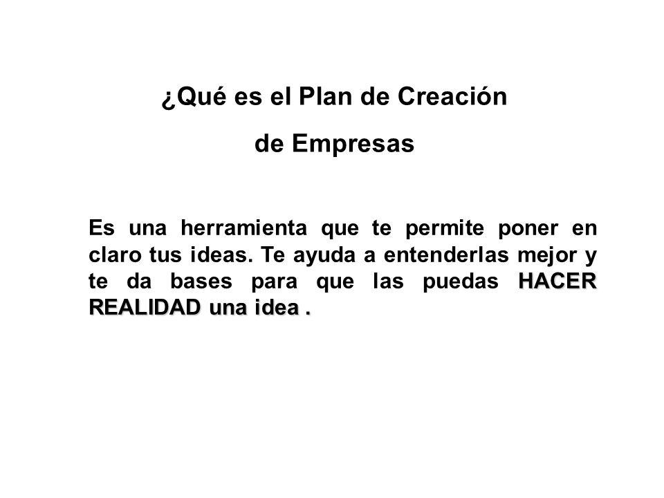 ¿Qué es el Plan de Creación de Empresas HACER REALIDAD una idea. Es una herramienta que te permite poner en claro tus ideas. Te ayuda a entenderlas me
