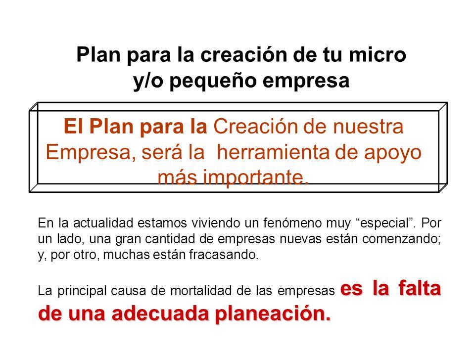 Plan para la creación de tu micro y/o pequeño empresa El Plan para la Creación de nuestra Empresa, será la herramienta de apoyo más importante. En la