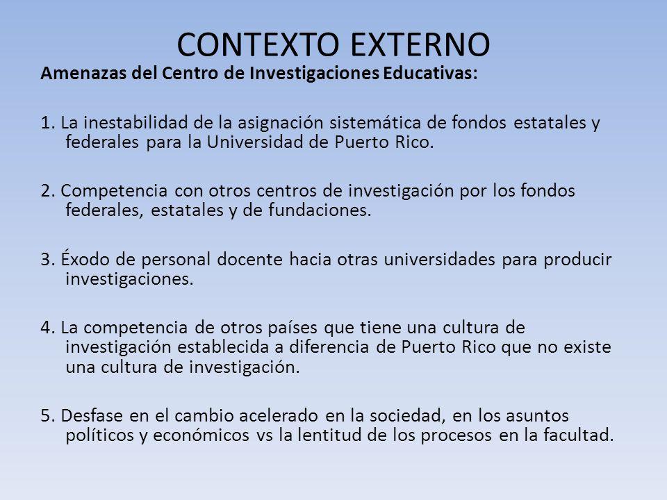 CONTEXTO EXTERNO Amenazas del Centro de Investigaciones Educativas: 1. La inestabilidad de la asignación sistemática de fondos estatales y federales p