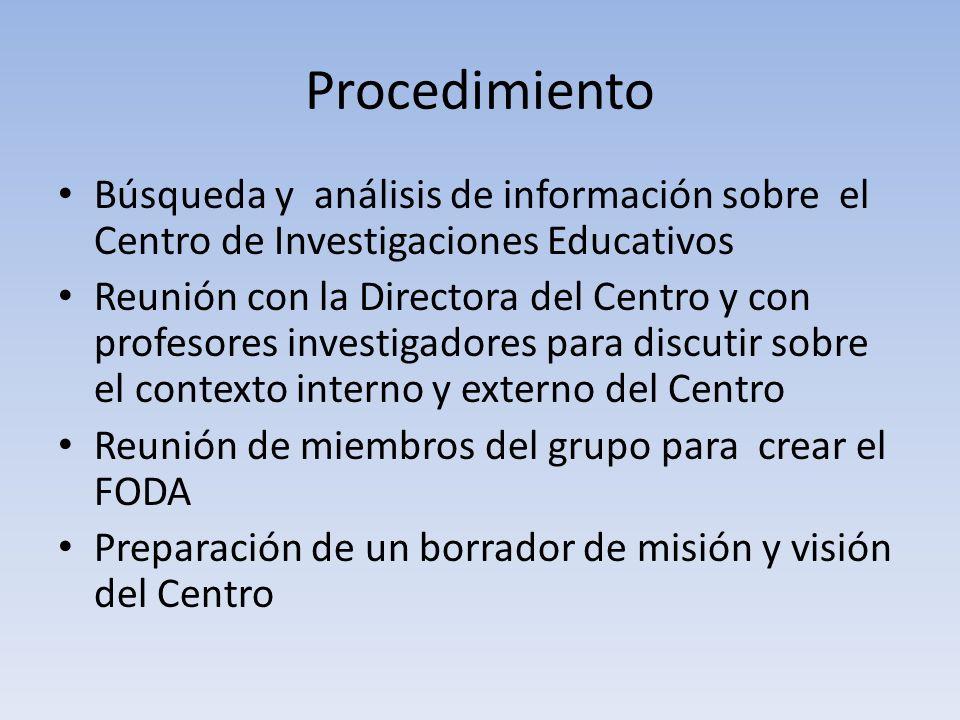 Procedimiento Búsqueda y análisis de información sobre el Centro de Investigaciones Educativos Reunión con la Directora del Centro y con profesores in