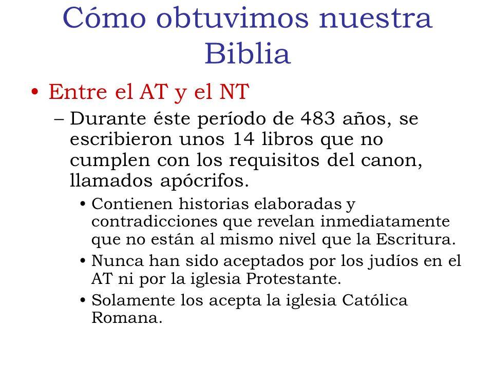 Cómo obtuvimos nuestra Biblia Entre el AT y el NT –Durante éste período de 483 años, se escribieron unos 14 libros que no cumplen con los requisitos del canon, llamados apócrifos.