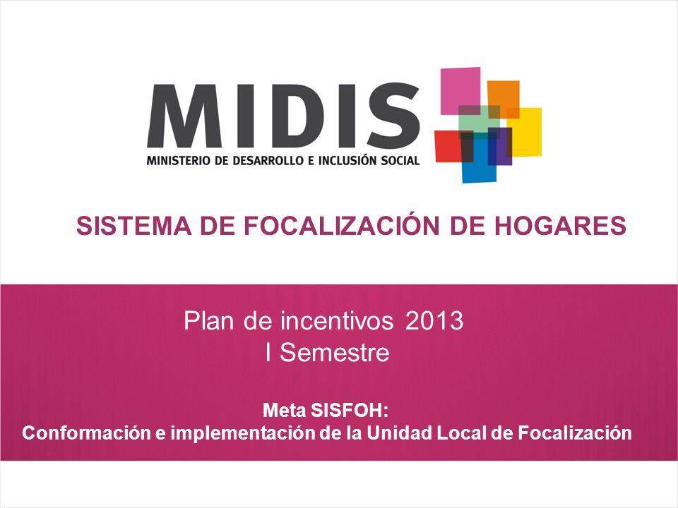Plan de incentivos 2013 I Semestre Meta SISFOH: Conformación e implementación de la Unidad Local de Focalización SISTEMA DE FOCALIZACIÓN DE HOGARES