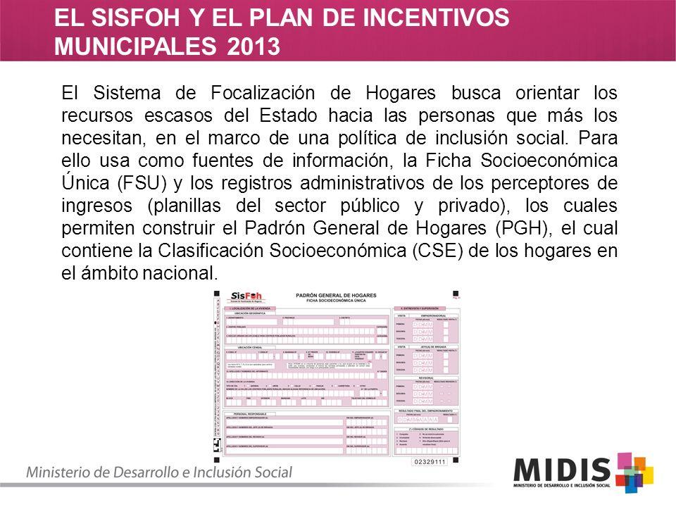 EL SISFOH Y EL PLAN DE INCENTIVOS MUNICIPALES 2013 Para la actualización del Padrón General de Hogares (PGH).