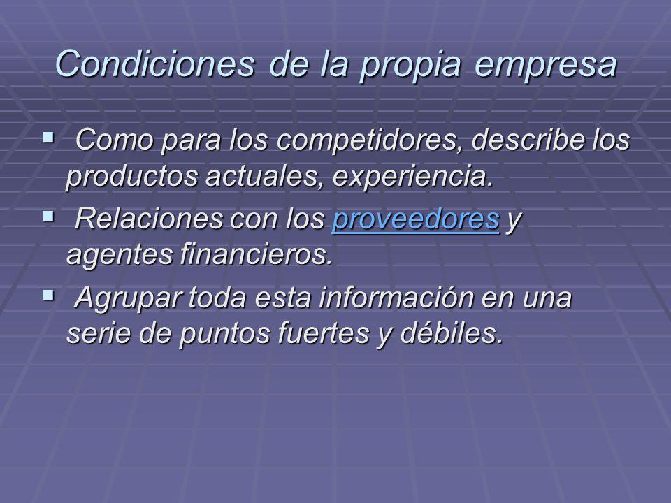 Condiciones de la propia empresa Como para los competidores, describe los productos actuales, experiencia. Como para los competidores, describe los pr