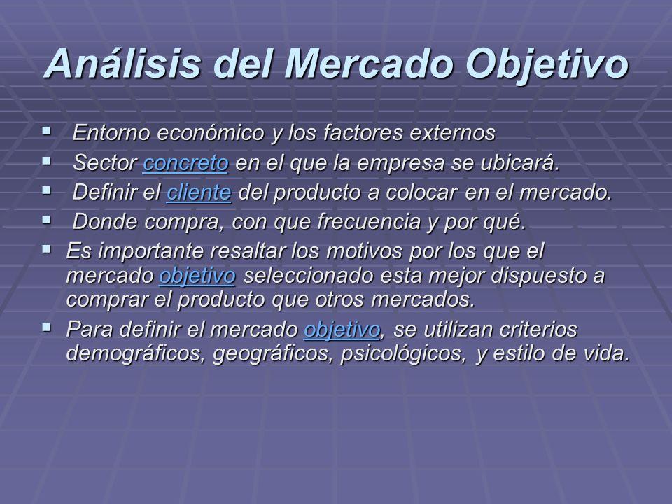 Análisis del Mercado Objetivo Entorno económico y los factores externos Entorno económico y los factores externos Sector concreto en el que la empresa