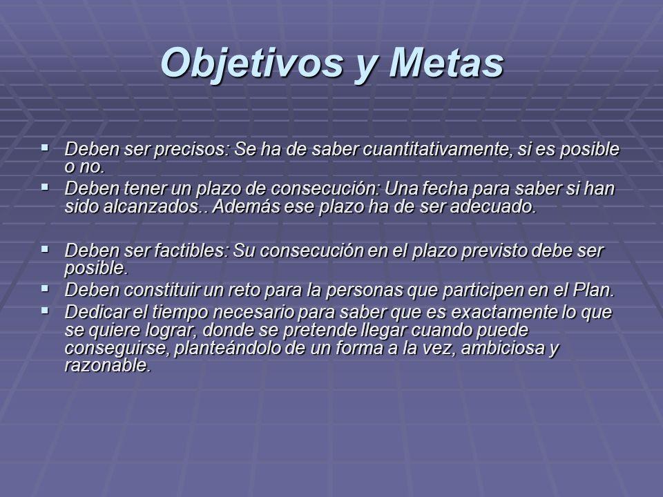 Objetivos y Metas Deben ser precisos: Se ha de saber cuantitativamente, si es posible o no. Deben ser precisos: Se ha de saber cuantitativamente, si e