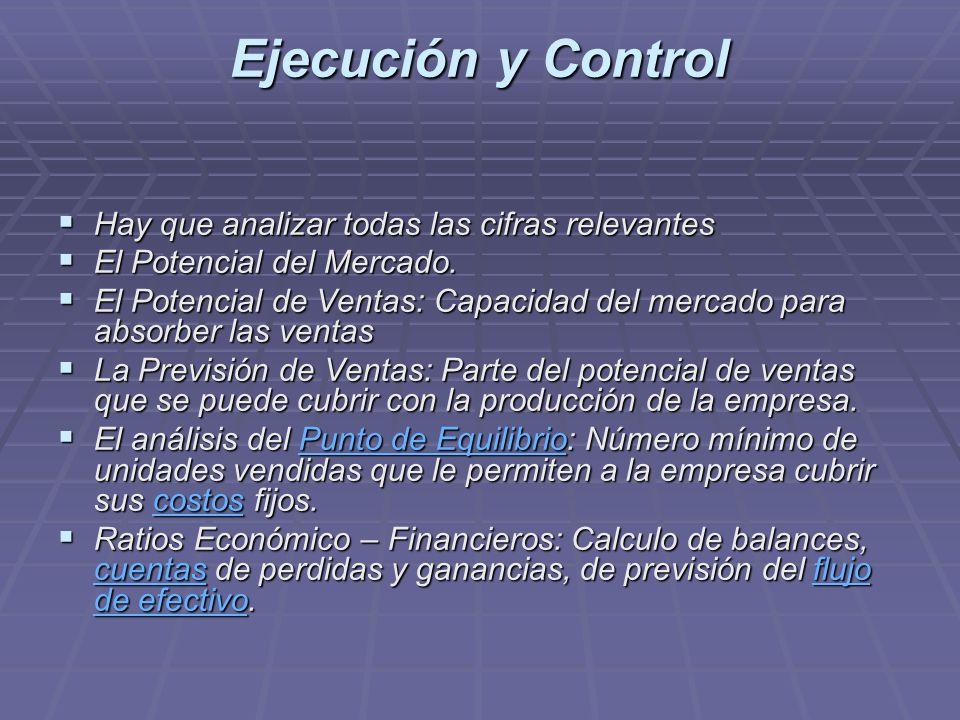 Ejecución y Control Hay que analizar todas las cifras relevantes Hay que analizar todas las cifras relevantes El Potencial del Mercado. El Potencial d