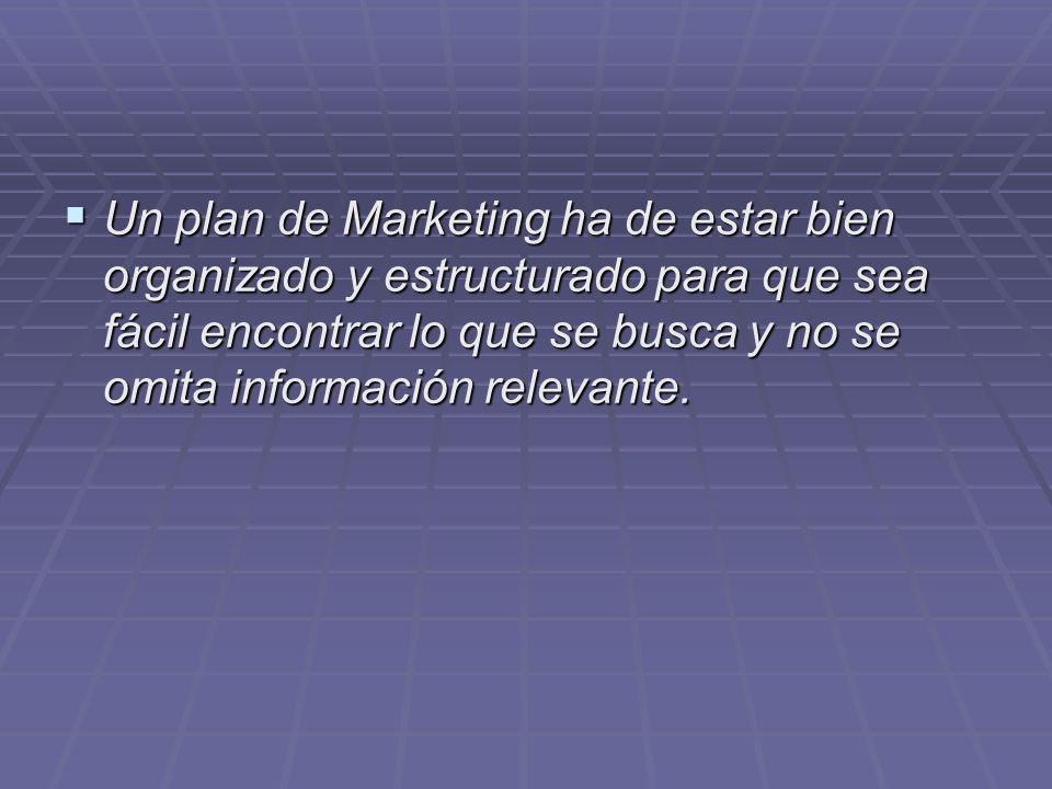 Un plan de Marketing ha de estar bien organizado y estructurado para que sea fácil encontrar lo que se busca y no se omita información relevante. Un p